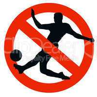 Soccer Player Silhouette on Traffic Prohibition Sign