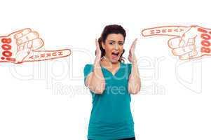 Woman shouting loud, stuck in between