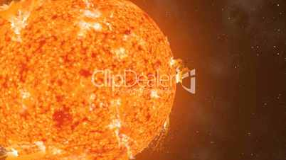 Sun Eruptions Oval Orbiting  Loop CGI HD