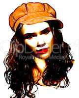 Young girl with brown hat cryaon drawing
