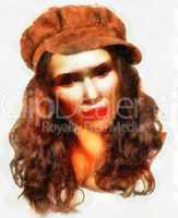 Young girl with brown hat water color painting