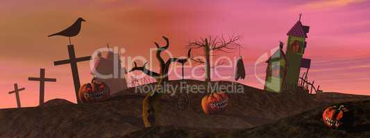 Pink halloween scene