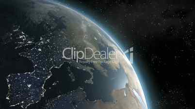 Earth (Highend) Sunrise Over Europe CGI HD