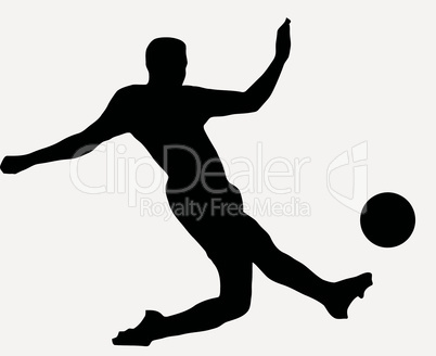 Sport Silhouette - Socer player kicking ball