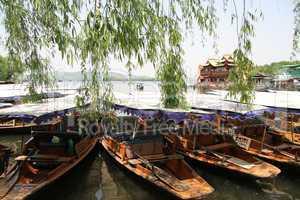 Boats near bank