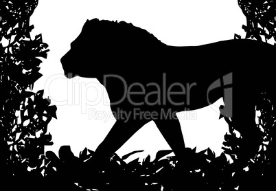 Lion in Isolated Bush Frame Vector