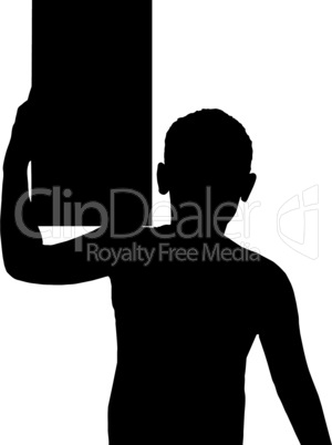 Isolated Boy Child Gesture Carry Box on Shoulder