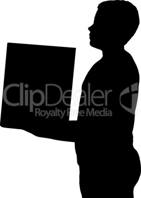 Isolated Boy Child Gesture Carrying Box