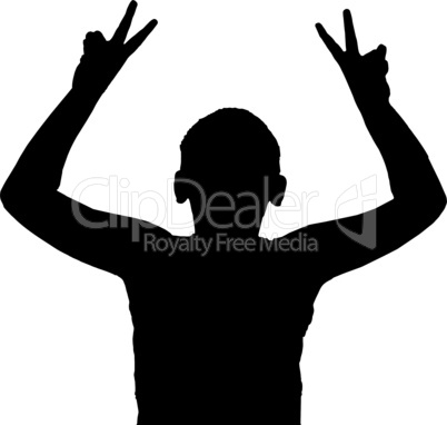 Isolated Boy Child Gesture Peace or Victory Sign
