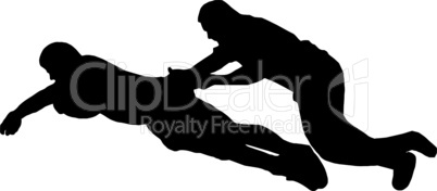 Sport Silhouette - Rugby Player Dives for Try Line with Tackler