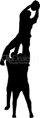 Sport Silhouette - Rugby Players Supporting Lineout Jumper