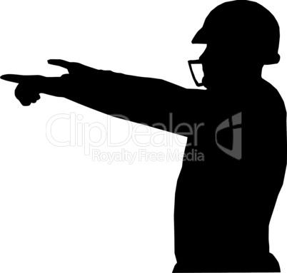 Silhouette American Football Quarterback Instructing