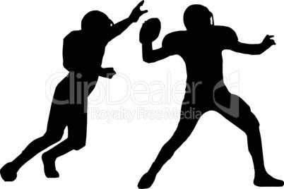 Silhouette American Football Quarterback and Defender