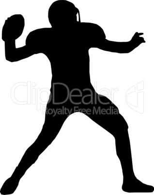 Silhouette American Football Quarterback Throw