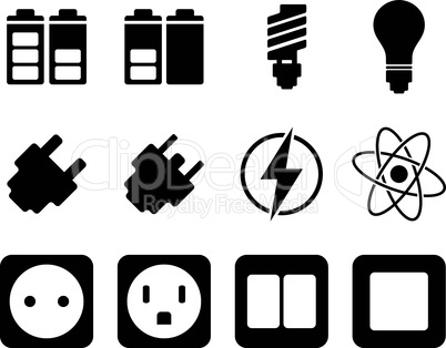 Electricity and energy icon set