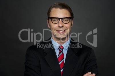 Closeup shot of smiling business executive