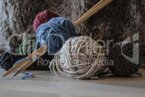 knitting needles and wool