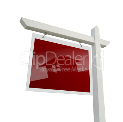 Real Estate Sign with House Silhouette with Clipping Path