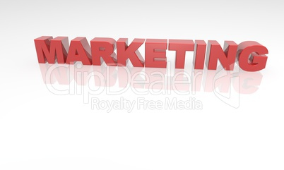 3D Marketing red text with reflection