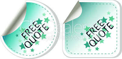 free quote blue sticker icon button sign. quotation price sales special offer. vector