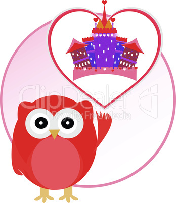 background with owl and cute castle in love heart. vector