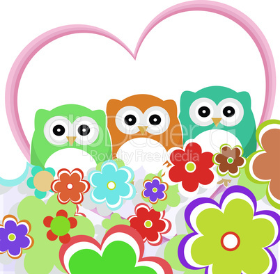 floral greeting card with owls. valentines background