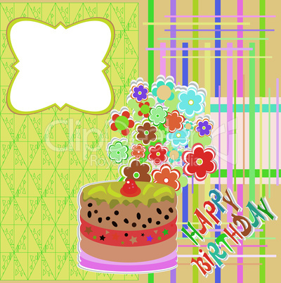 happy birthday greeting card with flower and cupcake vector