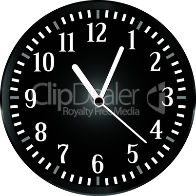 vector silver wall clock with black face