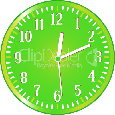 Clock yellow circle icon isolated on white. Vector