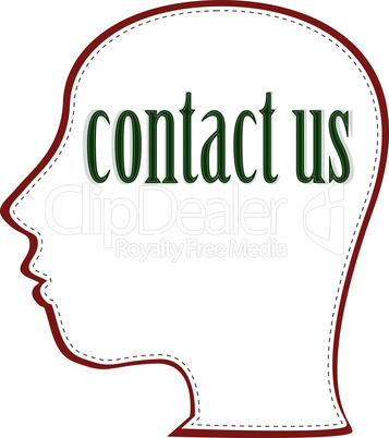 vector Human head with word Contact Us
