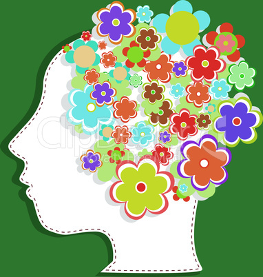 silhouette of a woman's head filled with cute flowers. vector