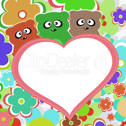 Teddy bear in flowers with big heart, vector illustration