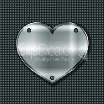metal heart label. vector valentines greeting background