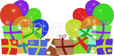 Card to birthday with balloons and gifts. vector background