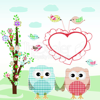 Set of nature elements: owls and birds on branches and tree. vector