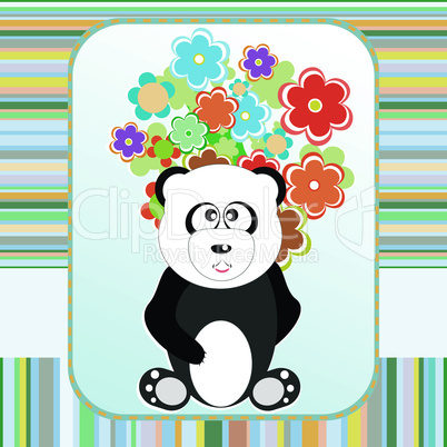 Panda in love with flowers holiday card. Vector illustration