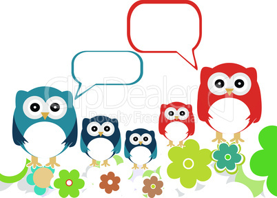 owls family speech in love on a flowery landscapes. vector