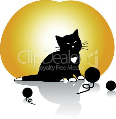 vector kitten with knitting balls