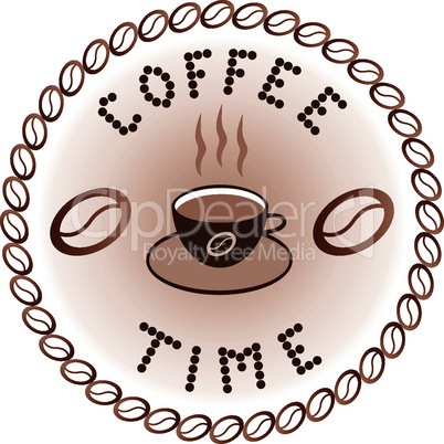 vector sign of coffee time