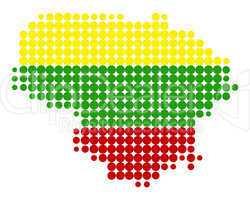 Karte und Fahne von Litauen