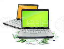Open laptop with money