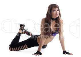 Beauty dancer posing in go-go costume isolated