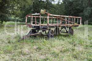 old trailer on meadow