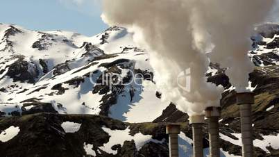 Steam rising from a geothermal electrical company