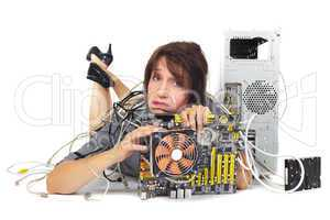 woman and computer motherboard