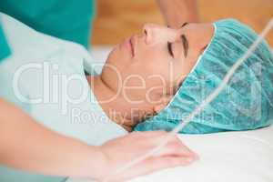 Woman sleeping on gurney