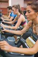 Four people on exercise bikes