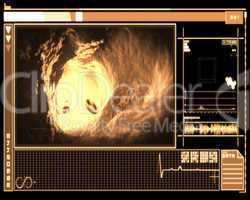 Orange and black digital interface showing vein interior