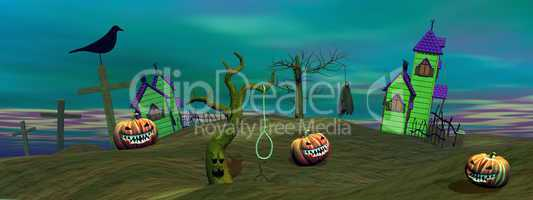 Green halloween scene