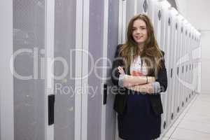 Smiling girl working in data storage facility